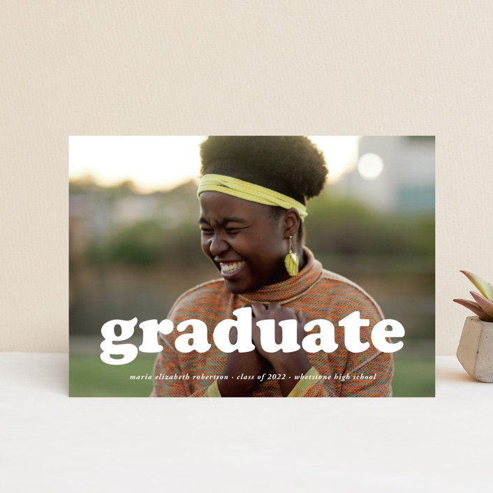 """""""Cooper"""" - Modern Graduation Petite Cards in Snow by Heather Schertzer."""