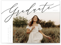 This is a black mini graduation invitation by Kelly Schmidt called sidestep with standard printing on signature in petite.