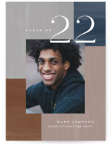 This is a blue graduation announcement invitation by Pixel and Hank called Building Blocks with standard printing on signature in petite.
