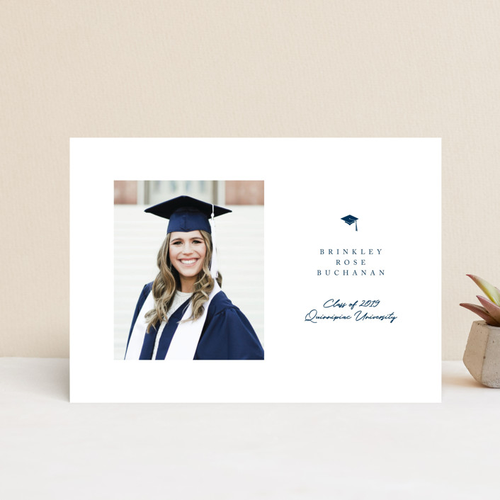 """Simple Cap"" - Graduation Petite Cards in Royal by Paula Pecevich."