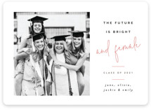 This is a pink mini graduation invitation by Pixel and Hank called And Female with standard printing on smooth signature in petite.
