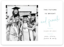 This is a blue mini graduation invitation by Pixel and Hank called And Female with standard printing on smooth signature in petite.