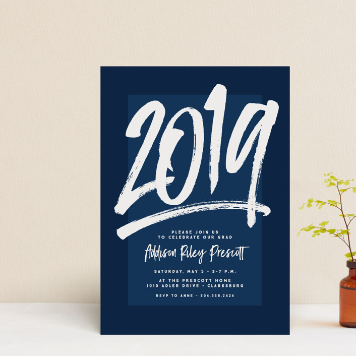 """""""All the Best"""" - Modern Graduation Petite Cards in Navy by Lea Delaveris."""