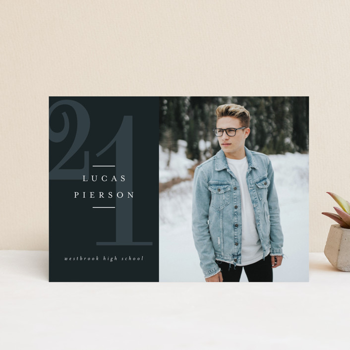 """Striking Year"" - Modern Graduation Petite Cards in Marine by Jessica Williams."