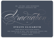 This is a blue graduation announcement magnet by Lauren Chism called Formal with foil-pressed printing on magnet paper in magnet.