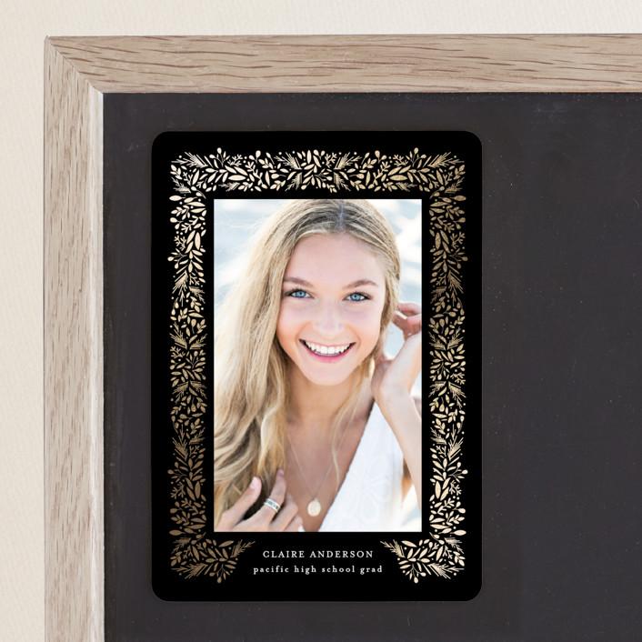 """freshly framed"" - Modern Foil-pressed Graduation Magnet in Onyx by Jennifer Postorino."
