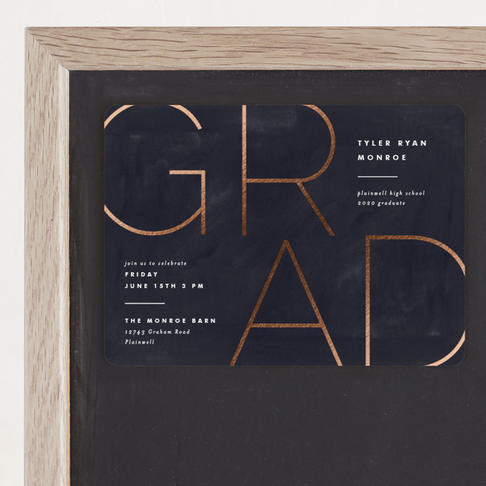 """""""Great Grad"""" - Foil-pressed Graduation Magnet in Navy by Pixel and Hank."""