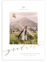 This is a brown graduation announcement magnet by Jennifer Postorino called Scripted with foil-pressed printing on magnet paper in magnet.