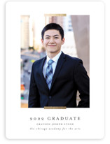 This is a white graduation announcement magnet by Lehan Veenker called Refinement with foil-pressed printing on magnet paper in magnet.