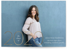 This is a white graduation announcement magnet by Ashlee Townsend called Gilded Date with foil-pressed printing on magnet paper in magnet.