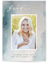 This is a blue graduation announcement magnet by Nicoletta Savod called Enlightenment  with foil-pressed printing on magnet paper in magnet.