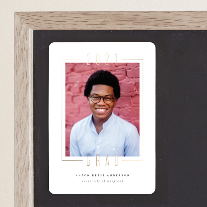 """""""Boxed"""" - Foil-pressed Graduation Magnet in Gilded by Ink and Letter."""