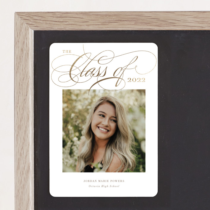 """""""Elegant Tradition"""" - Foil-pressed Graduation Magnet in Mocha by Holly Whitcomb."""