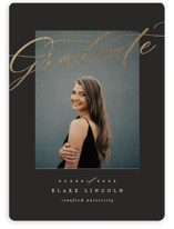 This is a black graduation announcement magnet by Creo Study called Glamed with foil-pressed printing on magnet paper in magnet.