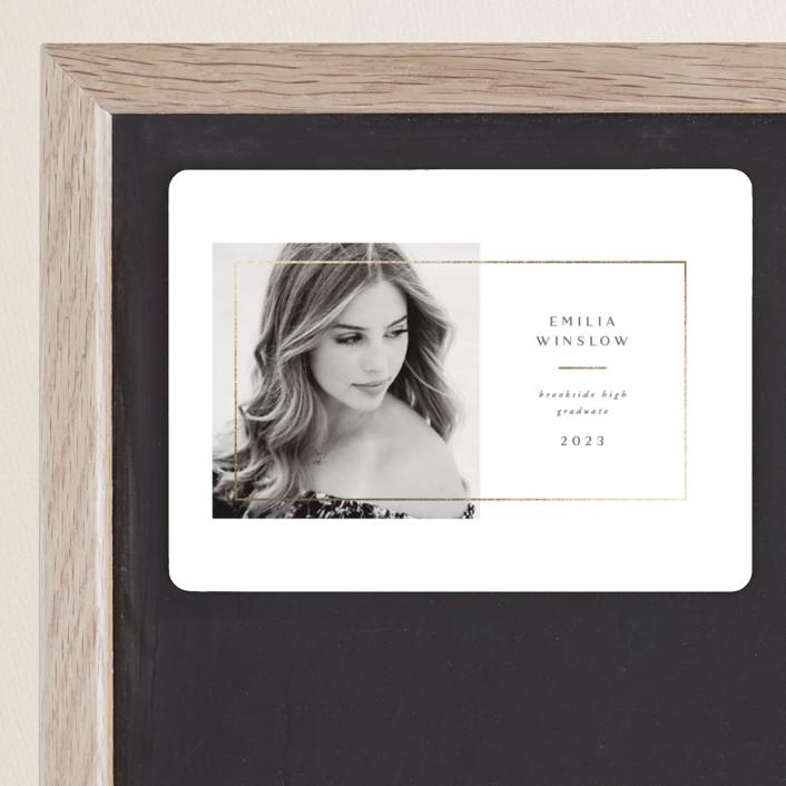 """Simple Frame"" - Foil-pressed Graduation Magnet in Silk by Jen Banks of Ink and Letter."