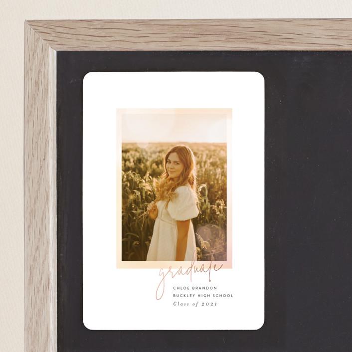 """Bocca"" - Modern, Preppy Foil-pressed Graduation Magnet in Sunset by Itsy Belle Studio."