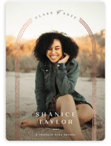 This is a brown graduation announcement magnet by Creo Study called glimmering doorway with foil-pressed printing on magnet paper in magnet.
