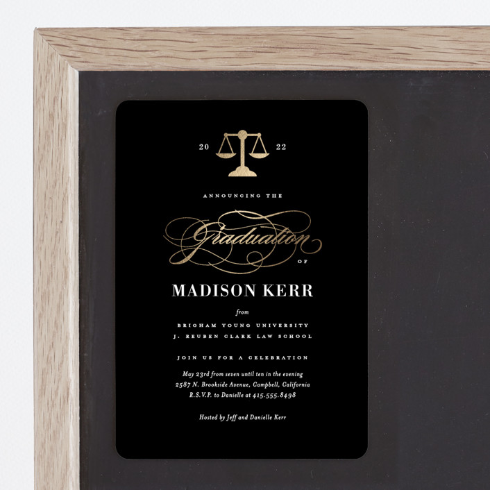"""""""Law Degree"""" - Foil-pressed Graduation Magnet in Ink by Jill Means."""
