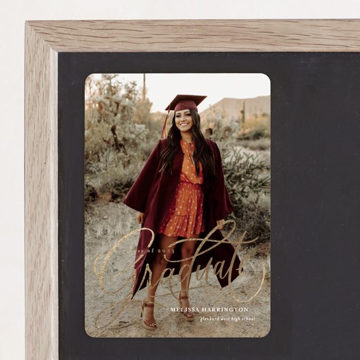 """Script Grad"" - Foil-pressed Graduation Magnet in Cloud by Erin German."