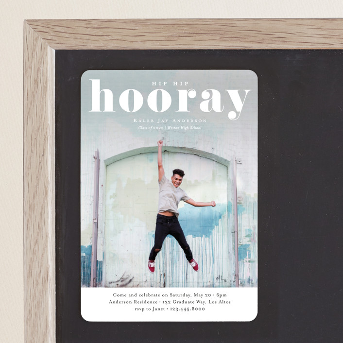 """Hooray"" - Graduation Announcement Magnets in Cloud by Kasia Labocki."