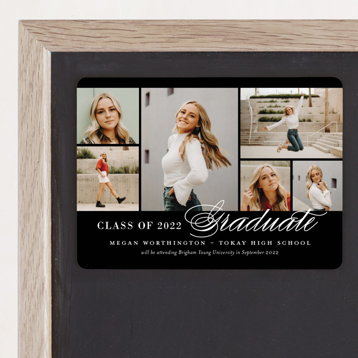 """Photo Block"" - Graduation Announcement Magnets in Licorice by Jill Means."