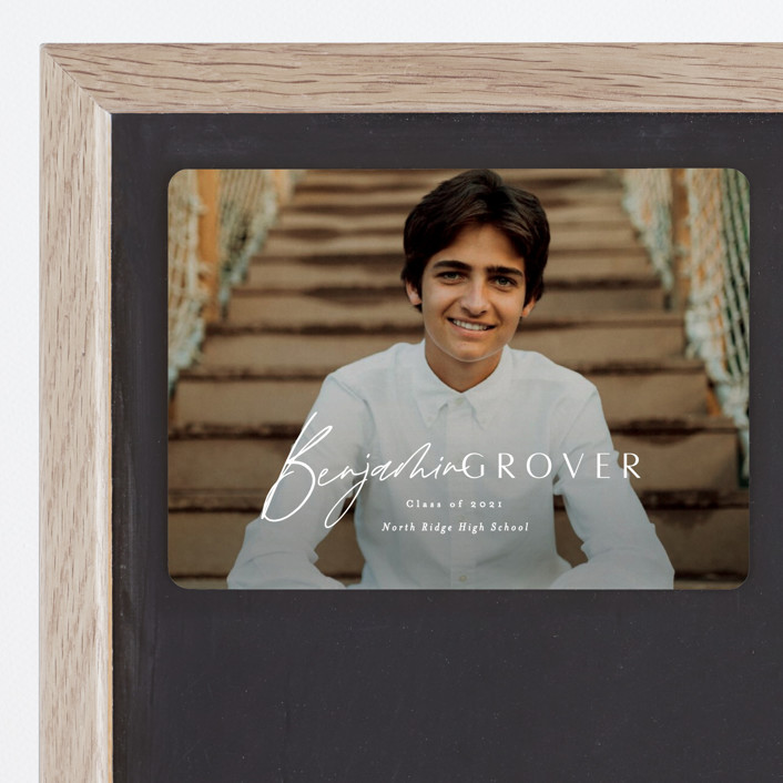 """""""Intrepid"""" - Graduation Announcement Magnets in Powder by Everett Paper Goods."""