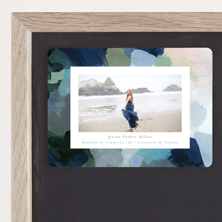 """""""abstraction"""" - Modern Graduation Announcement Magnets in Ocean by Nicole Walsh."""