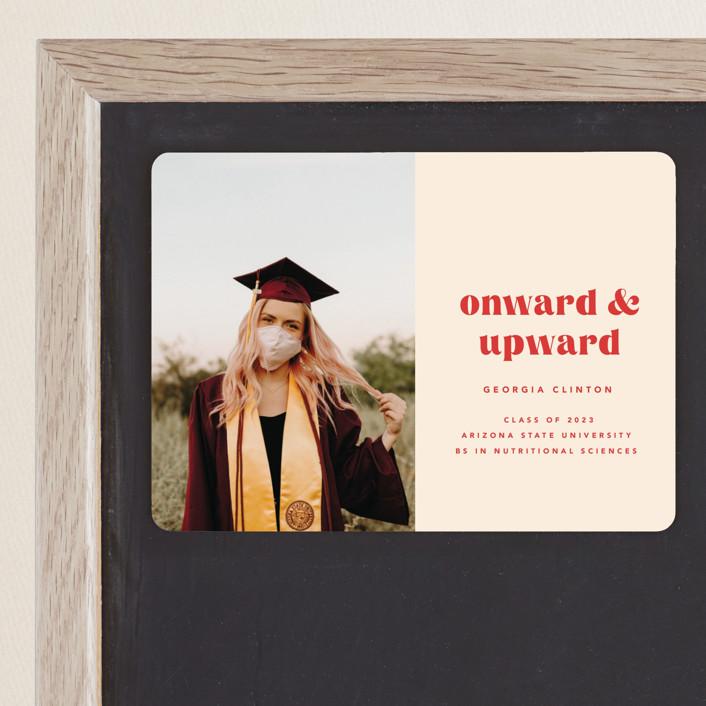 """Onward & Upward"" - Funny, Preppy Graduation Announcement Magnets in Peach by Anna Elder."