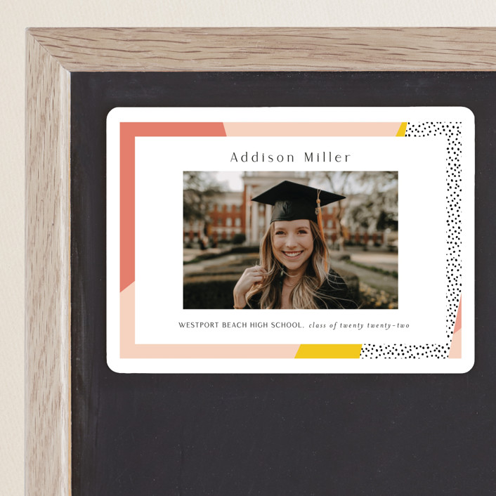 """Bold Border"" - Modern, Preppy Graduation Announcement Magnets in Pink Lemonade by Nicole Walsh."