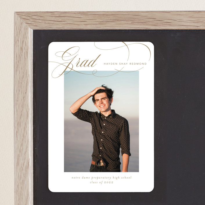 """Flourishing"" - Graduation Announcement Magnets in Gilded Gold by Jennifer Postorino."