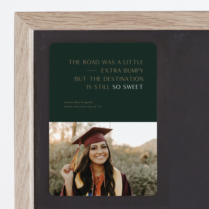 """""""Destination"""" - Funny, Modern Graduation Announcement Magnets in Faded Rust by Up Up Creative."""