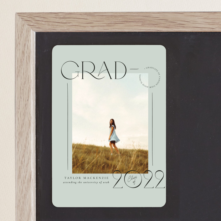"""Mod Grad"" - Graduation Announcement Magnets in Mint by Wildfield Paper Co."