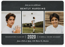 This is a black graduation announcement magnet by Oscar & Emma called Academy with standard printing on magnet paper in magnet.