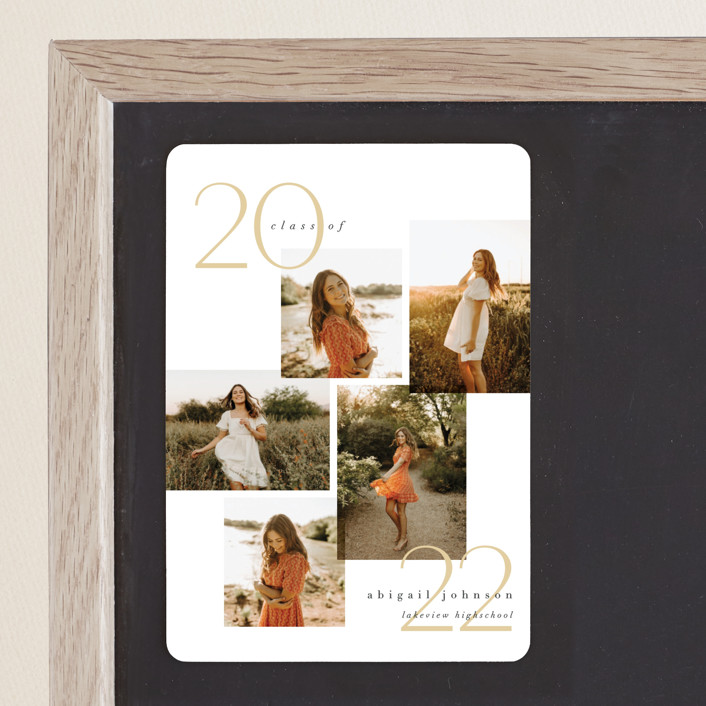 """""""chic five"""" - Modern Graduation Announcement Magnets in Marigold by Carolyn Nicks."""