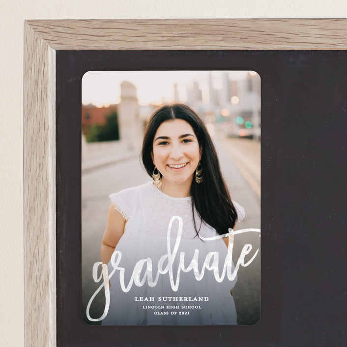 """Modern Ombre"" - Graduation Announcement Magnets in Slate by Kerry Doyle - Paper Dahlia."