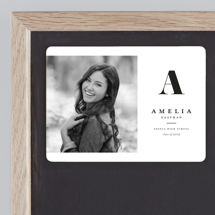 """""""Bold monogram"""" - Graduation Announcement Magnets in Shadow by Stacey Meacham."""
