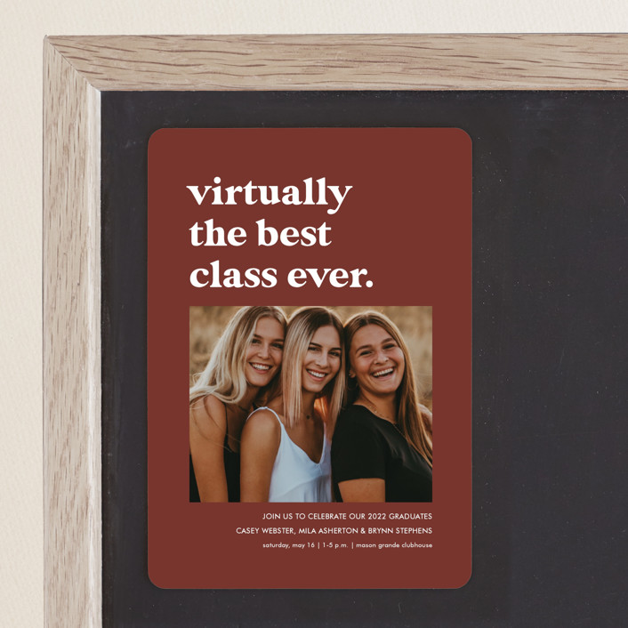 """Virtually the best"" - Funny, Preppy Graduation Announcement Magnets in Cinnamon by Lea Delaveris."