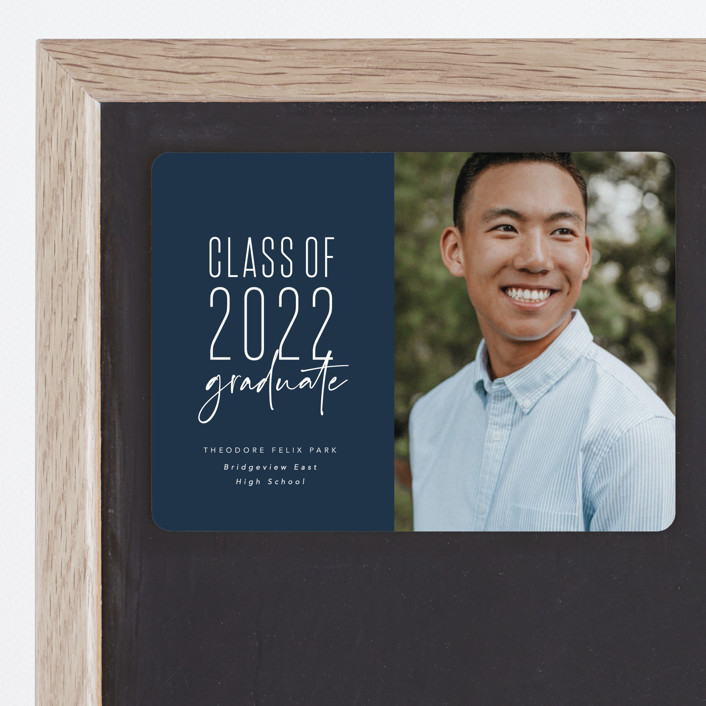 """""""One and done"""" - Funny, Preppy Graduation Announcement Magnets in Jeans by Lea Delaveris."""