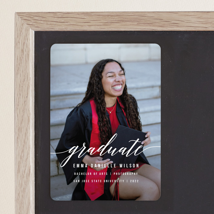 """Simple Style"" - Graduation Announcement Magnets in Cotton by Simona Camp."