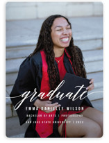 This is a white graduation announcement magnet by Simona Camp called Simple Style with standard printing on magnet paper in magnet.