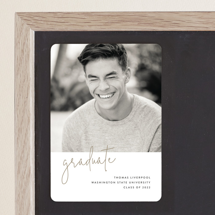 """Minimalist"" - Graduation Announcement Magnets in Taupe by Chryssi Tsoupanarias."