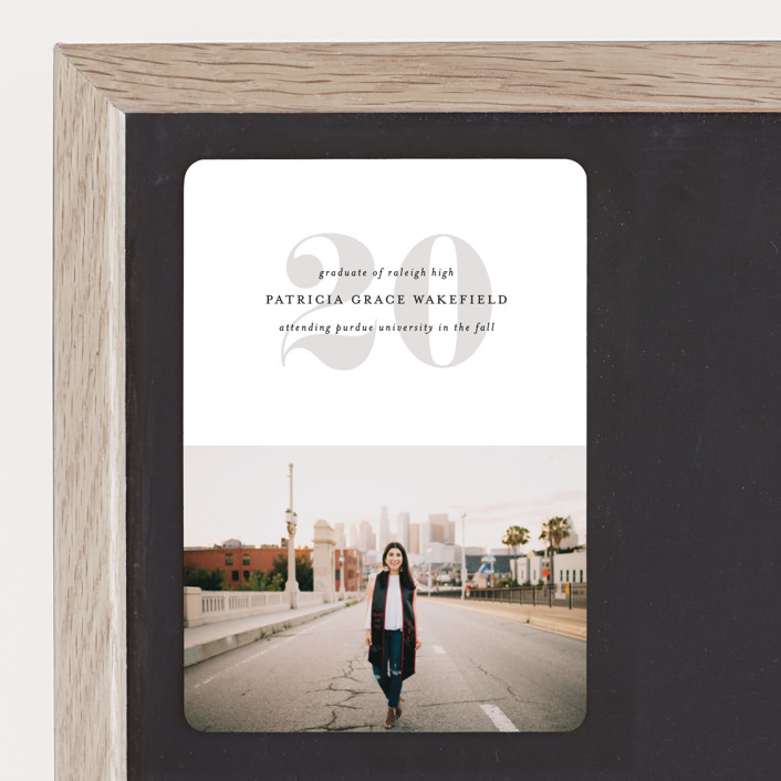 """""""The Minimalist"""" - Graduation Announcement Magnets in Ash by Mansi Verma."""
