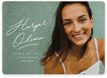 This is a white graduation announcement magnet by Stacey Meacham called ink signature with standard printing on magnet paper in magnet.