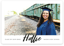 This is a black graduation announcement magnet by Carrie ONeal called Next Step with standard printing on magnet paper in magnet.
