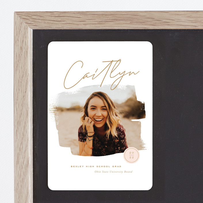 """Brushed Photo"" - Graduation Announcement Magnets in Golden by Oscar & Emma."