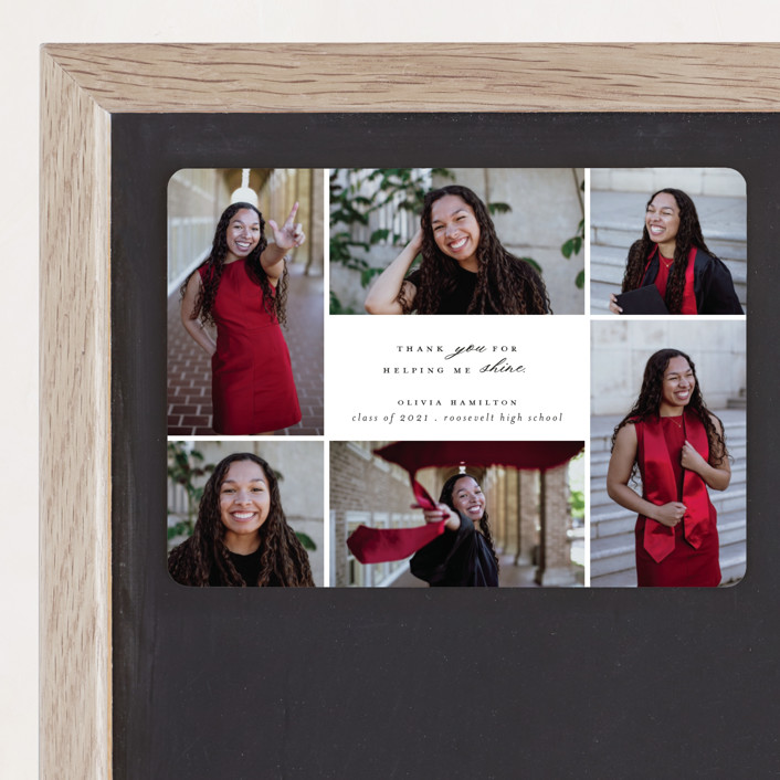 """""""Shine Bright"""" - Graduation Announcement Magnets in Blackboard by Hudson Meet Rose."""