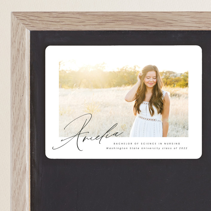 """Signed"" - Graduation Announcement Magnets in Crystal by Jen Banks of Ink and Letter."