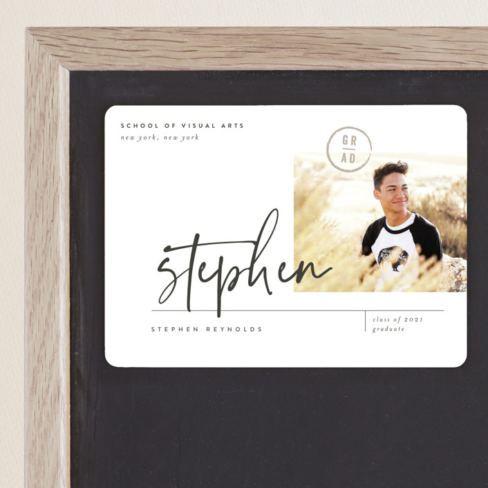 """""""Grad Signature"""" - Graduation Announcement Magnets in Star White by Eric Clegg."""