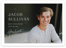 This is a white graduation announcement magnet by Carolyn MacLaren called Album Cover with standard printing on magnet paper in magnet.