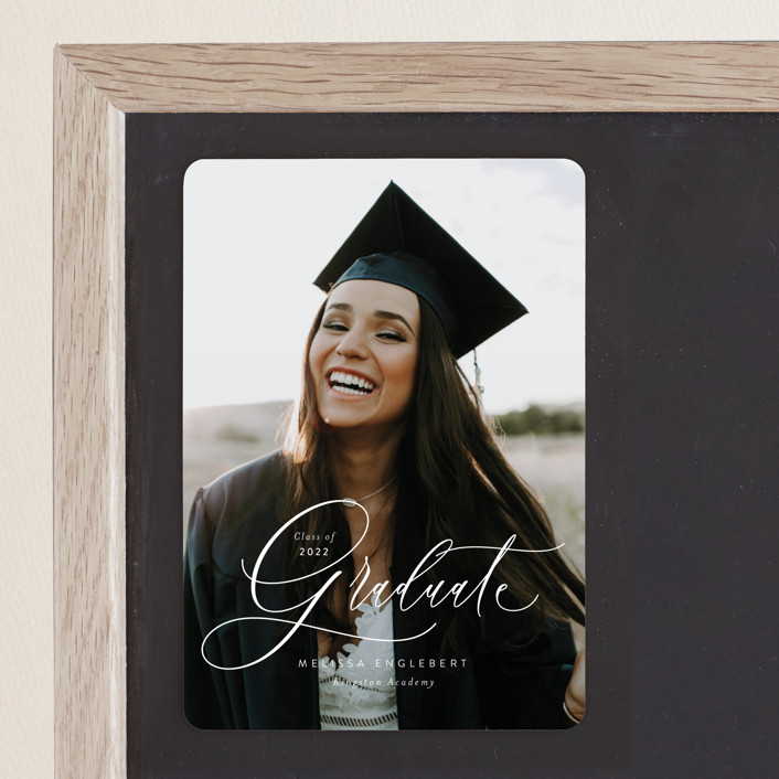 """Impression"" - Graduation Announcement Magnets in Winter by Itsy Belle Studio."